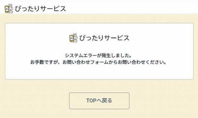 【特別定額給付金の申請】ぴったりサービスでシステムエラーが発生!