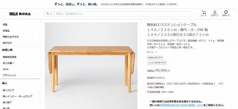 無垢材エクステンションテーブル140/220cm・楕円・オーク材 幅149/220×奥行85×高さ72cm 通販 | 無印良品